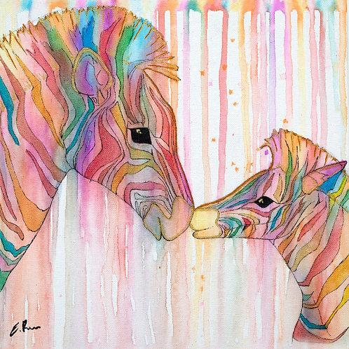 'Colourful Zebras' Original Watercolour