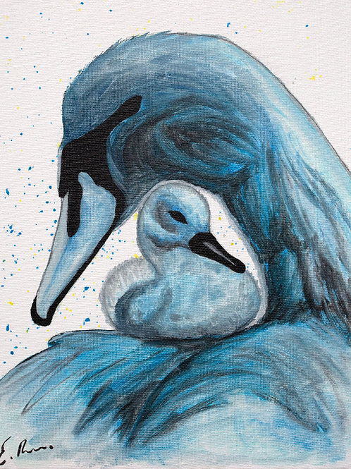 'Blue Swans' Original Watercolour