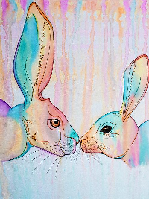 'Colourful Hares' Original Watercolour
