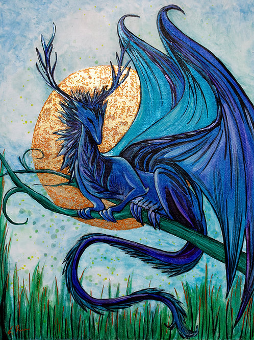 'Blue Dragon' Original Watercolour & Gold Leaf