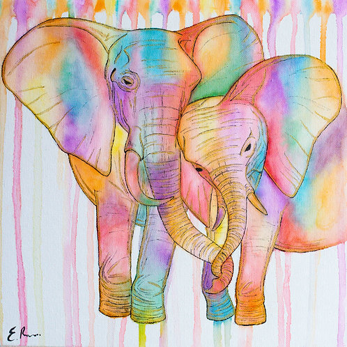 'Elephant Love' Original Watercolour