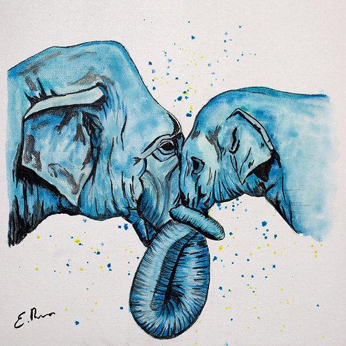 'Blue Elephants' Original Watercolour