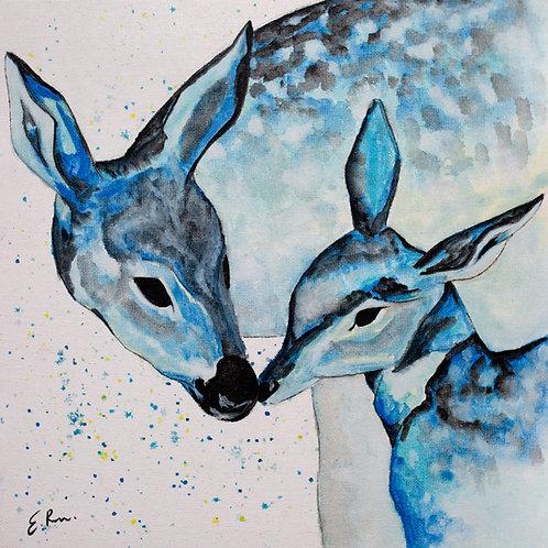 'Blue deer' Original Watercolour