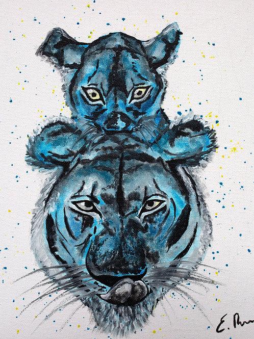 'Blue Tigers' Original Watercolour