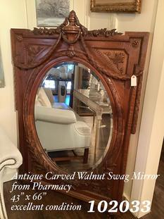 Antique Carved Walnut Swag Mirror