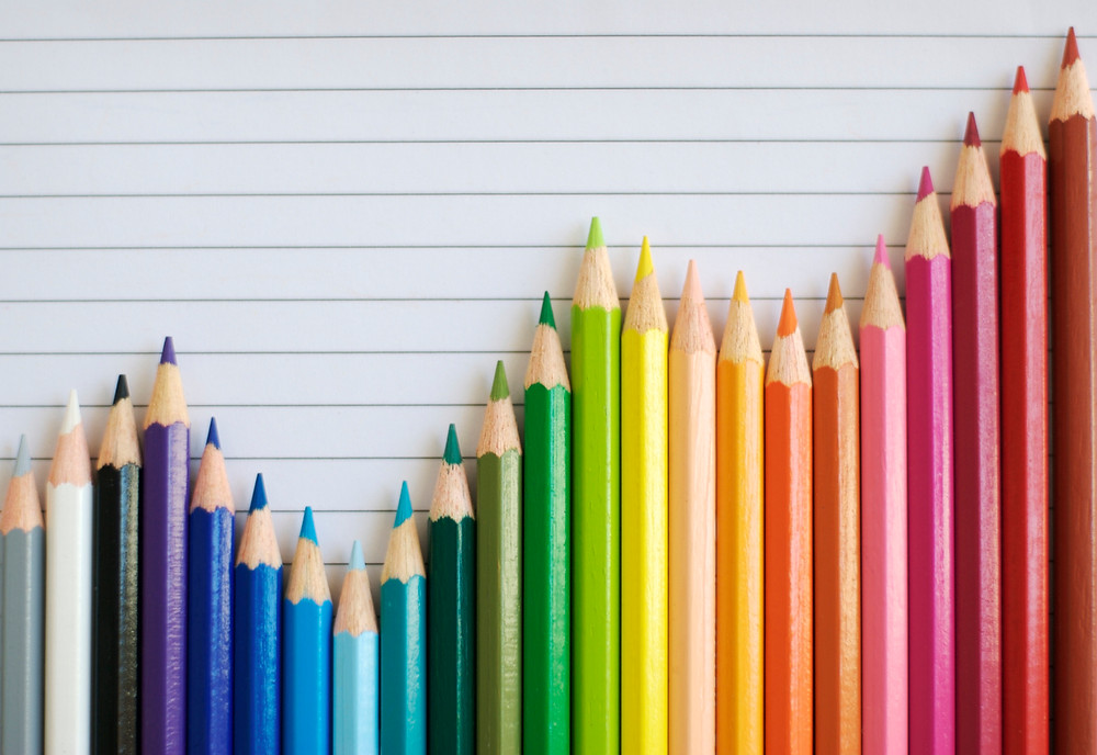 Colored Pencil Bar Graph Lined Paper
