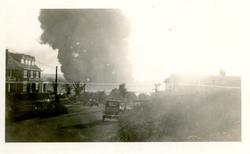 Column of black smoke over Greenwood