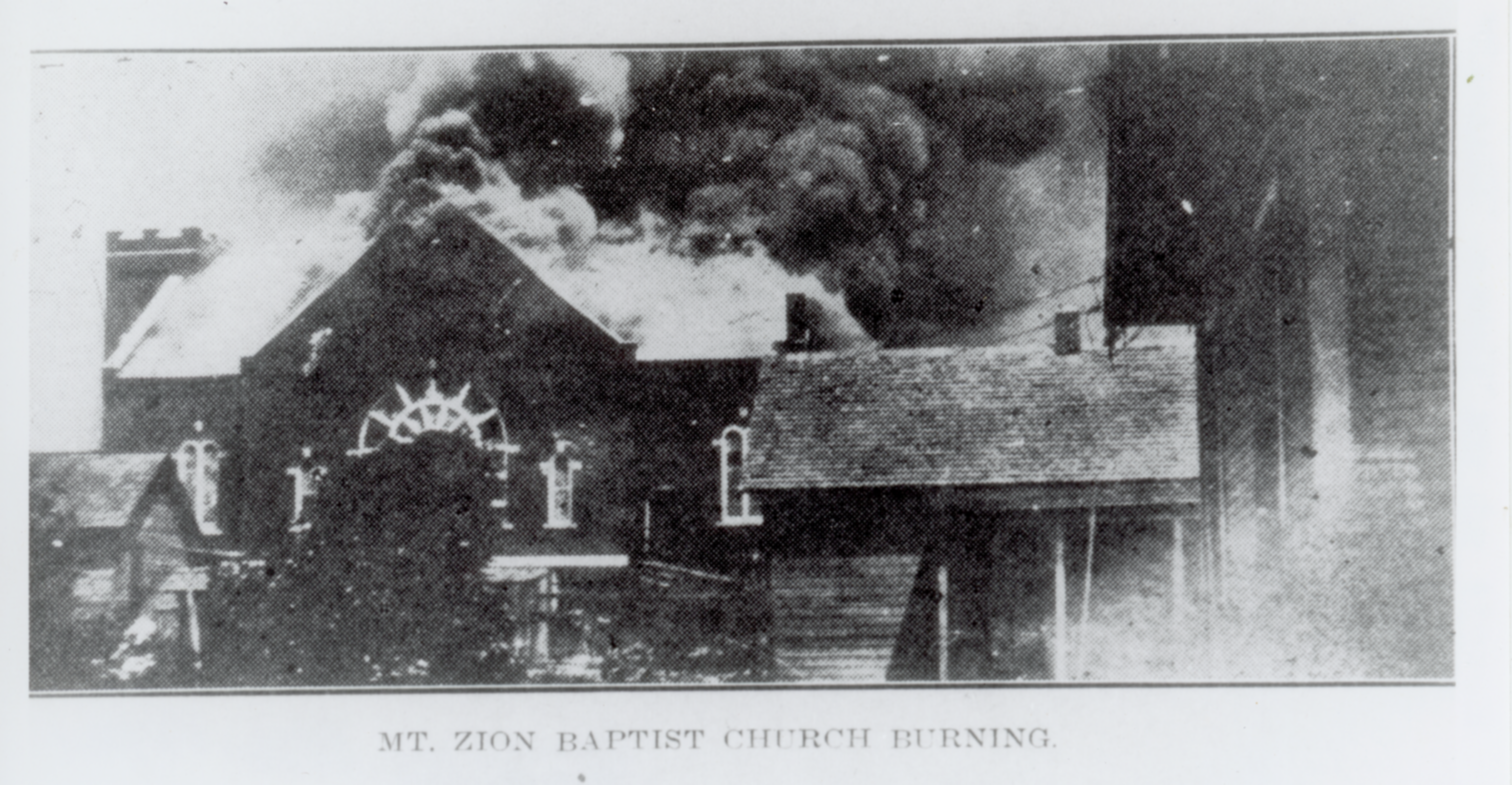 Mt. Zion Baptist Church on fire