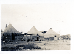 Temporary houses set up by Red Cross