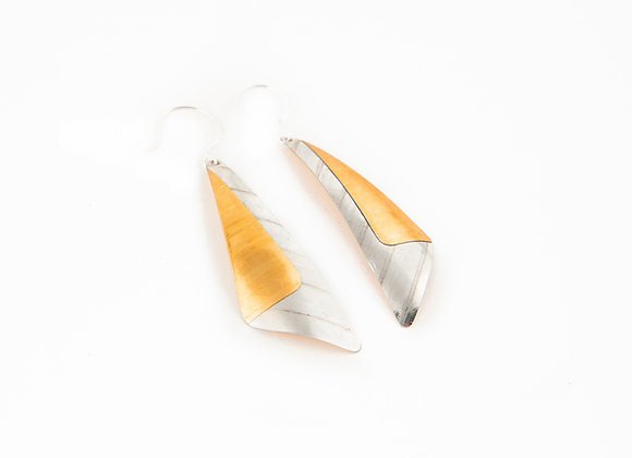 TWO TONE ANGULAR EARRINGS