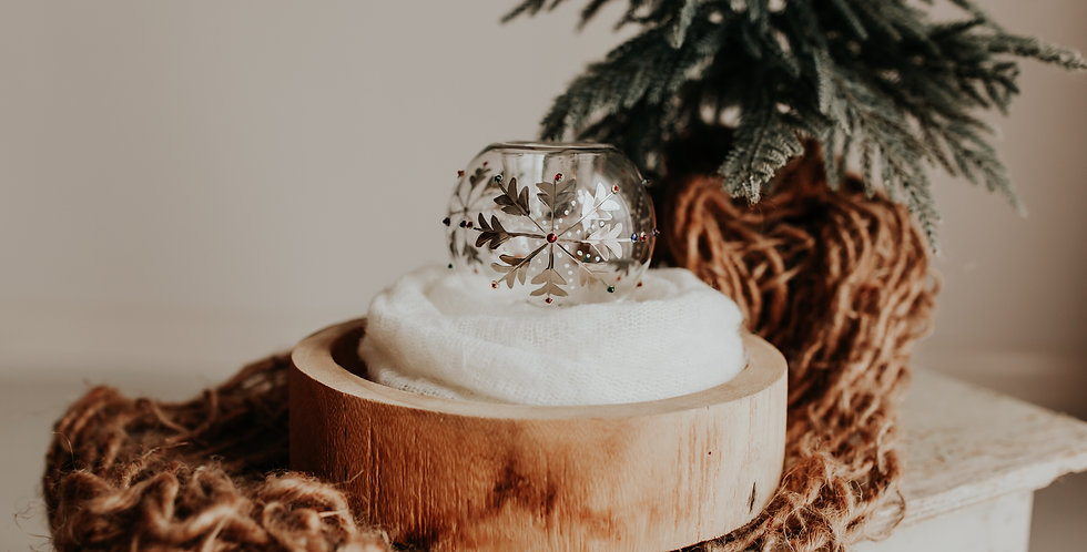 Silver Snowflake Candle Holder