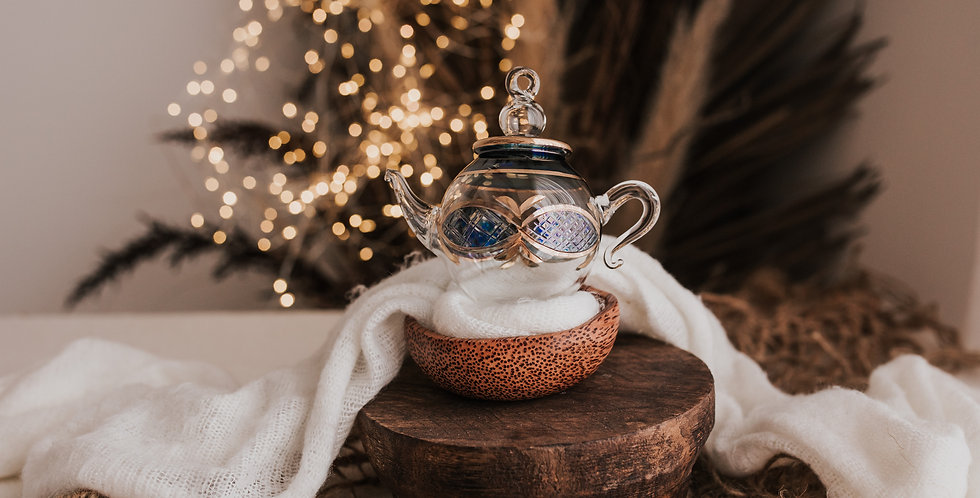 Blue and Clear Teapot Bauble