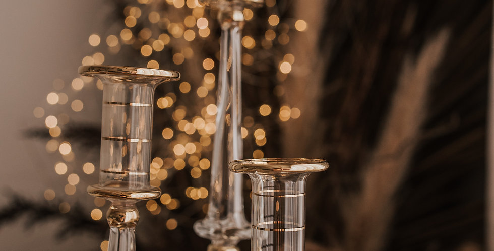 Clear and Gold Candlestick Set