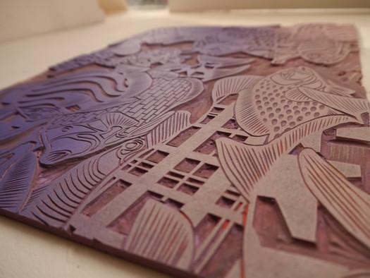 plaque de lino gravée
