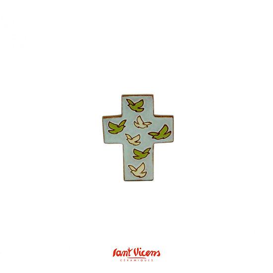 "Croix ""vol de colombes"" - ivoire et vert"