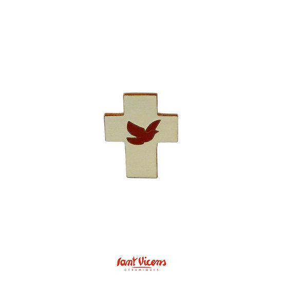 """Croix """"colombe"""" - ivoire et rouge"""