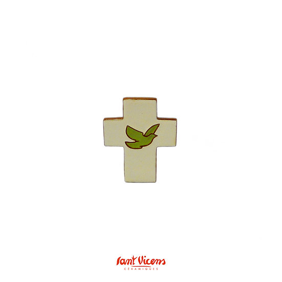 "Croix ""colombe"" - ivoire et vert"