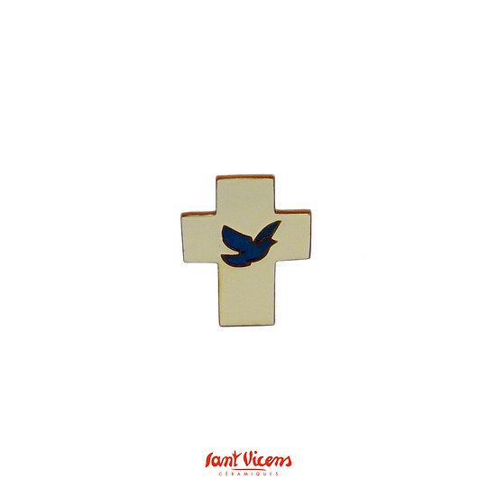 """Croix """"colombe"""" - ivoire et bleu"""