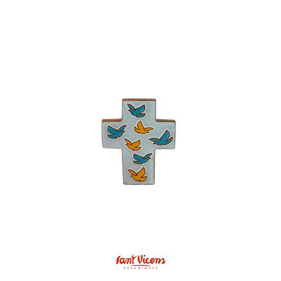 """Croix """"vol de colombes"""" - bleu et orange"""