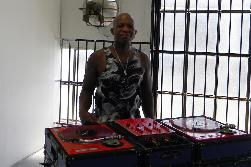 """DJ Vicious Lee on the """"Nostalgia"""" music video set."""