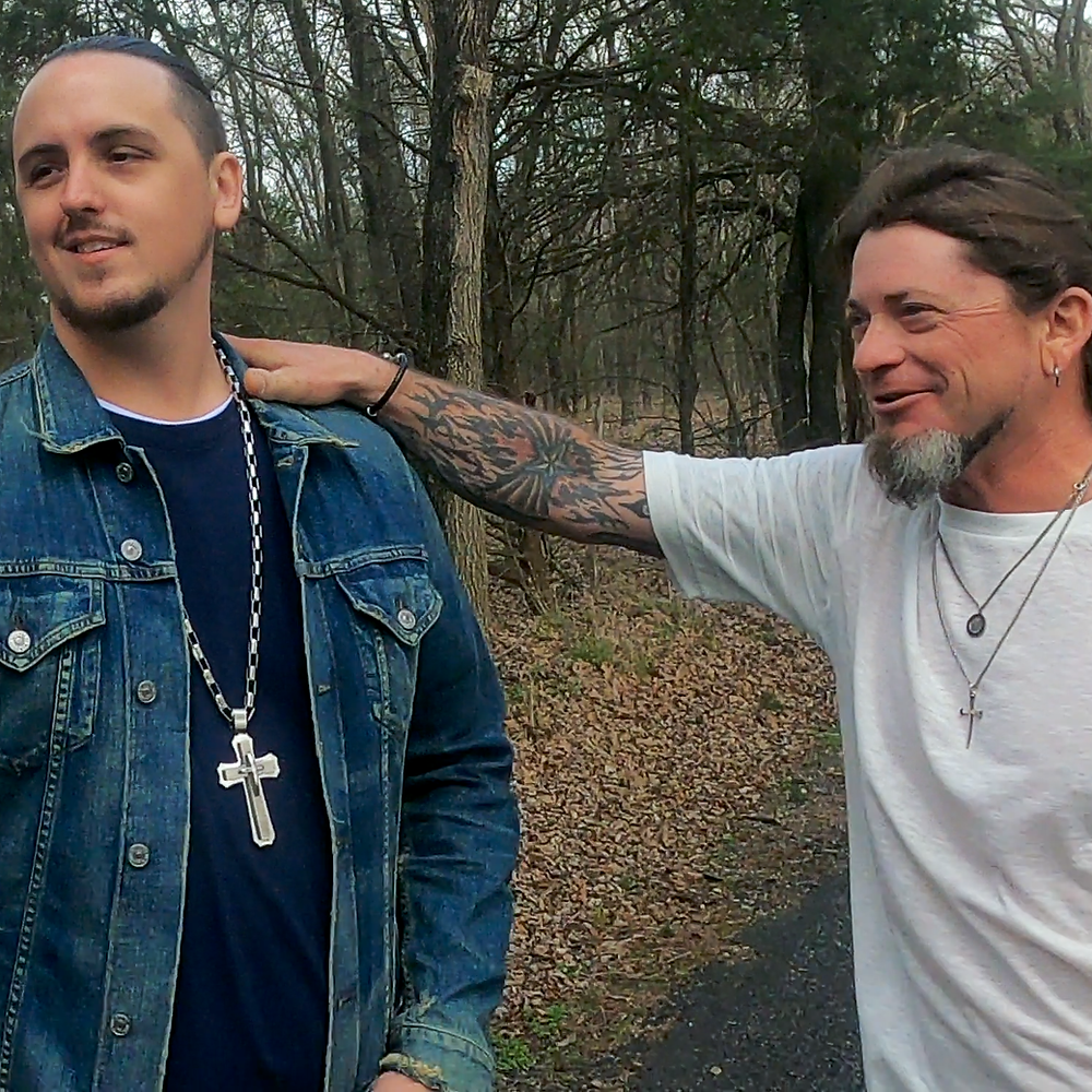 """Kasland & Justin Dowden on the """"Walk With Me"""" music video set."""