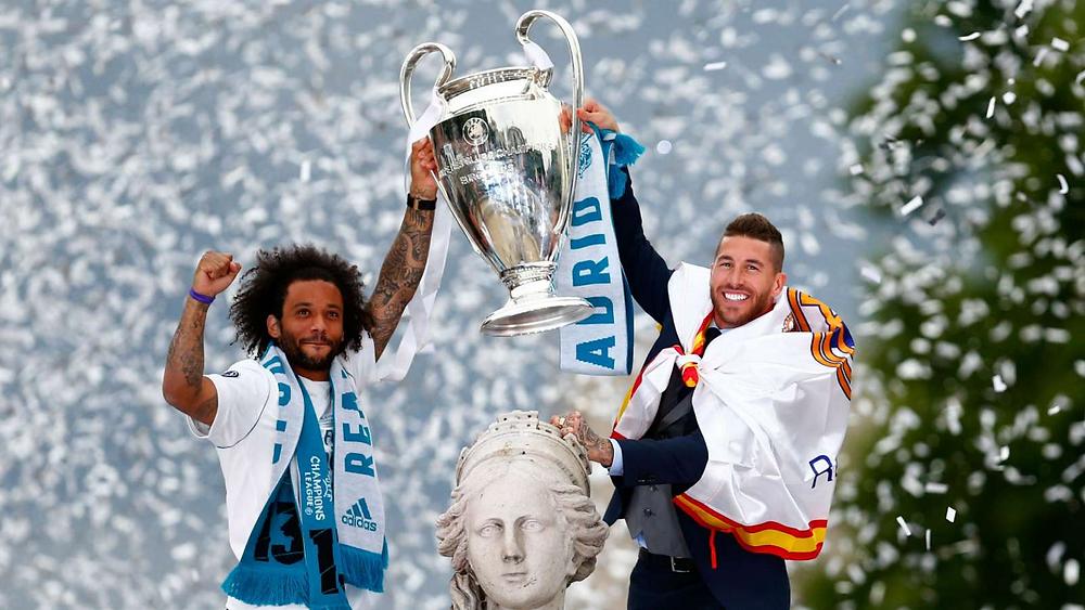 Marcelo e zagueiro Sérgio Ramos conquistaram o mundo, no último sábado, e o vigésimo título vestindo a camisa do Real Madrid (Fonte:Getty Images)