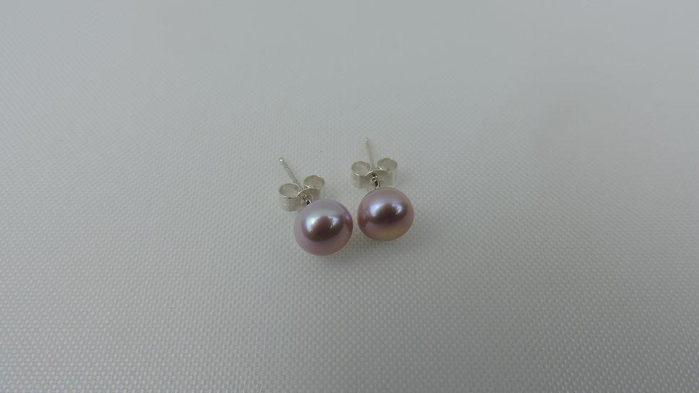 Pink Freshwater Cultured Pearl Stud Earrings