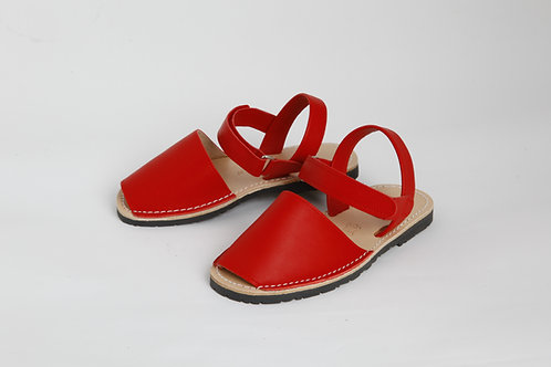 Children's velcro avarca - red leather