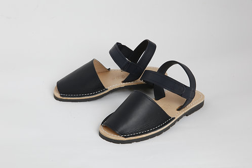 Children's velcro avarca - navy leather