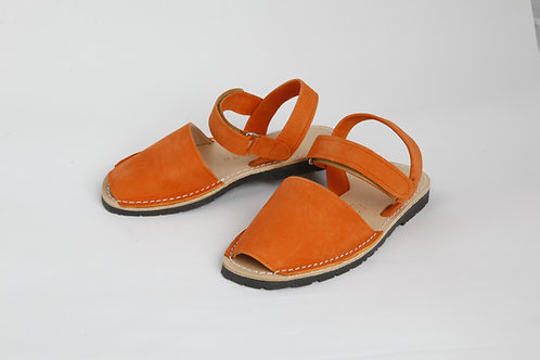 Children's velcro avarca - orange nubuck