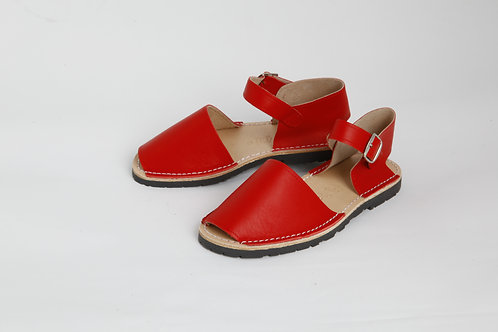 Children's buckle - red leather