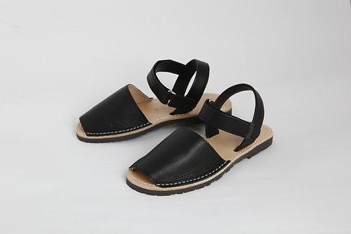 Children's velcro avarca - black leather