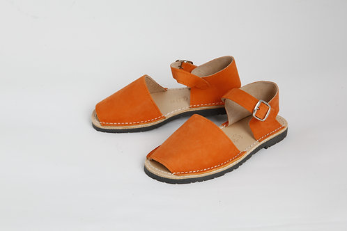 Children's buckle - orange nubuck