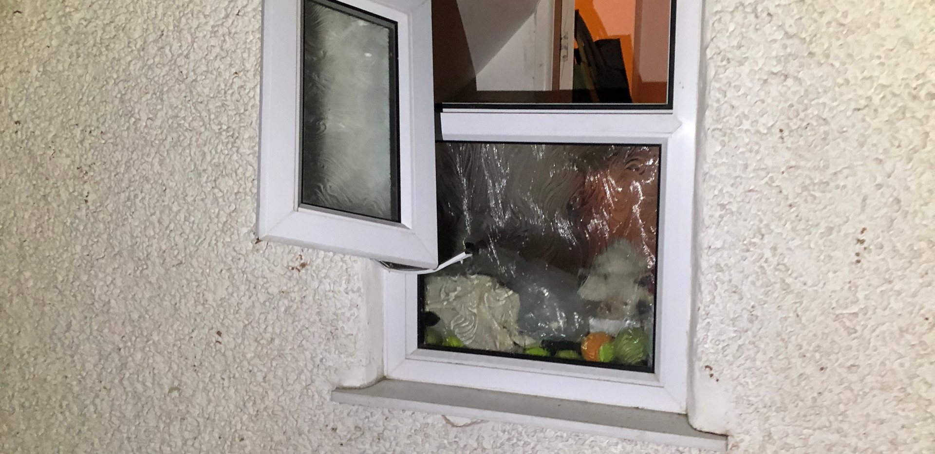 forced entry through a window in a burglary