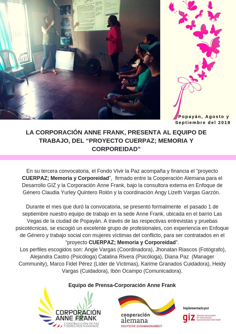 """LA CORPORACIÓN ANNE FRANK, PRESENTA AL EQUIPO DE TRABAJO, DEL """"PROYECTO CUERPAZ; MEMORIA Y CORPOREIDAD"""""""