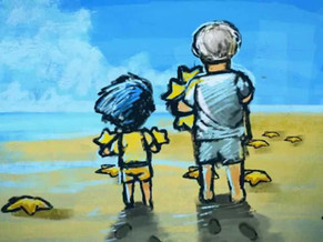 El niño y las estrellas de mar