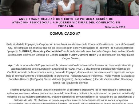 ANNE FRANK REALIZÓ CON ÉXITO SU PRIMERA SESIÓN DE ATENCIÓN PSICOSOCIAL A MUJERES VÍCTIMAS DEL CONFLI