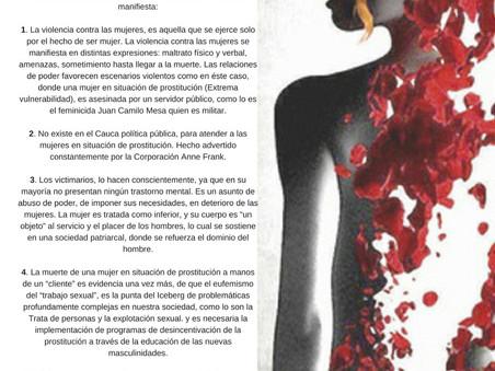 COMUNICADO A LA OPINIÓN PÚBLICA ¡NO MÁS FEMINICIDIOS!
