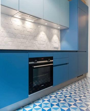 Cuisine bleu carreaux de ciment un archi