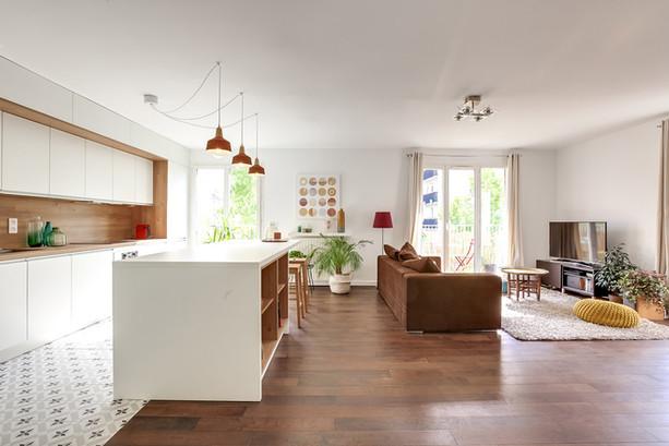 Cuisine ilot ouverte sur salon architect