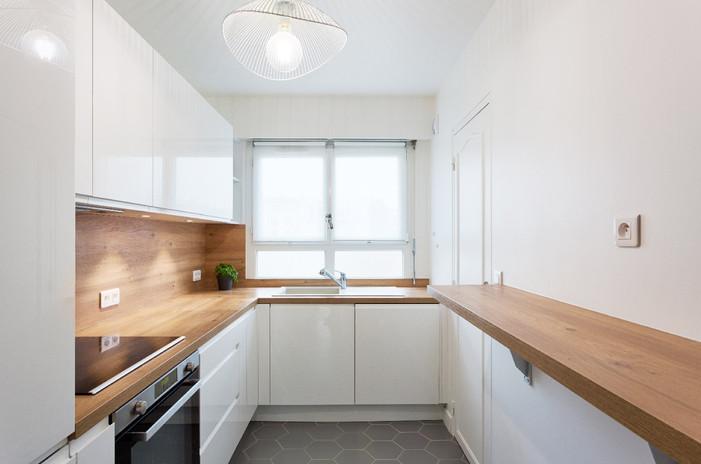 Cuisine blanche et bois architecte un ar