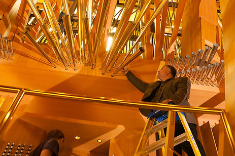 Manuel Rosales works on the great organ in the Disney Hall, Los Angeles