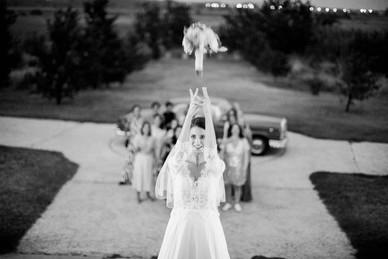 lancé du bouquet de mariée