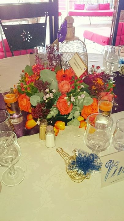 centre de table mariage orange