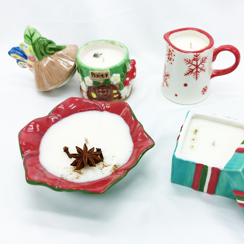 2 Day Workshop 12th & 19th November - Pottery Painting + Candle Making