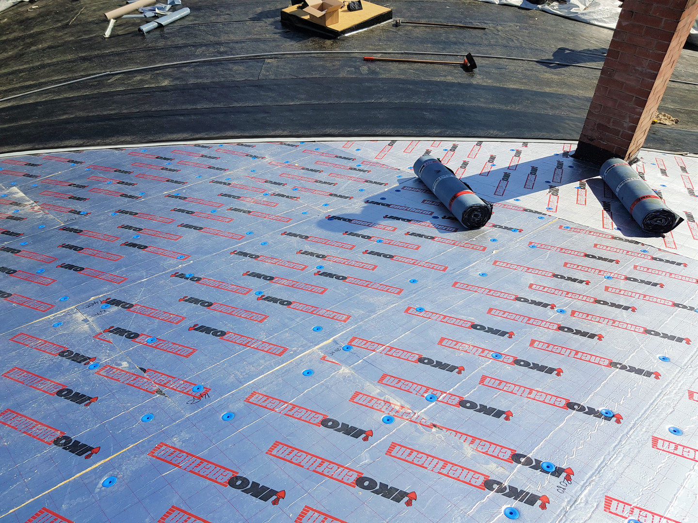 Warm roof using Enertherm boards