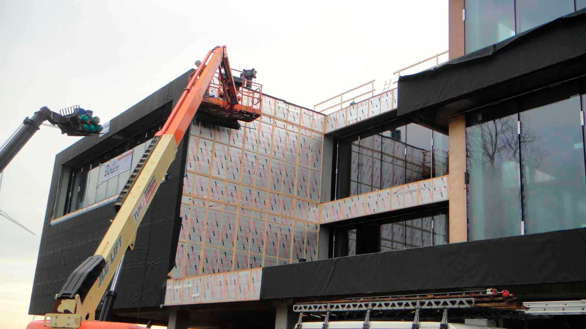 Enertherm panels being installed