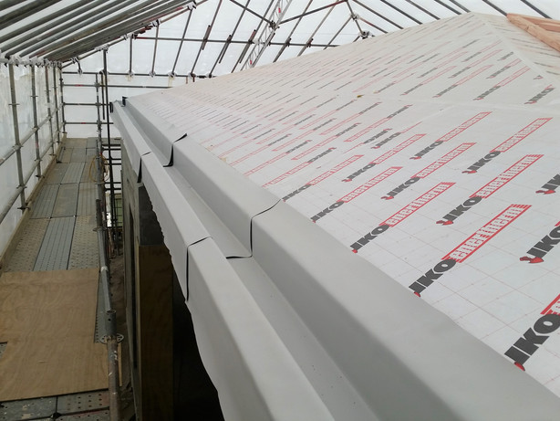 Pitched roof with TPO gutter