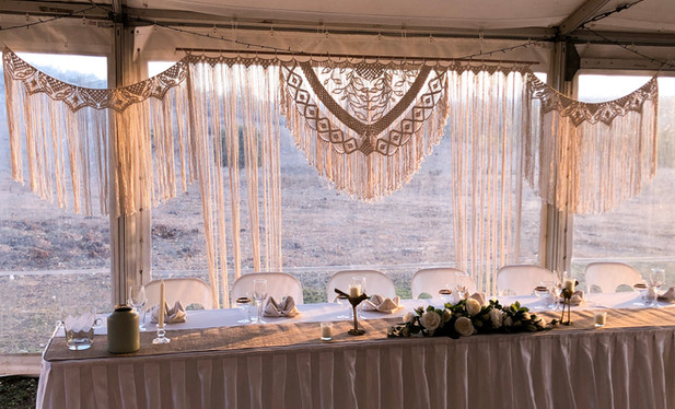 Macrame Wedding Arch and Bunting Gold Co