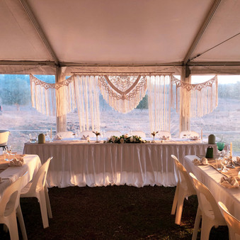 Macrame Wedding Arbour and Bunting Gold